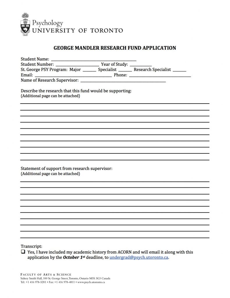 GEORGE MANDLER RESEARCH FUND_Application Form